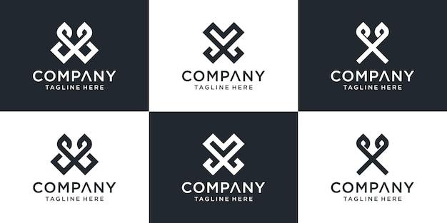 Zestaw kreatywnych monogramów litera xv logo szablon