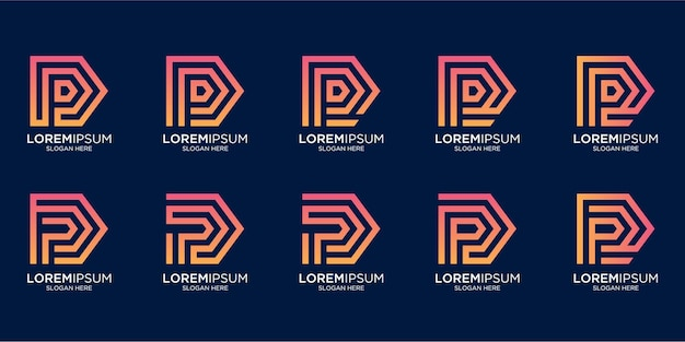 Zestaw kreatywnych monogramów litery p logo projektu
