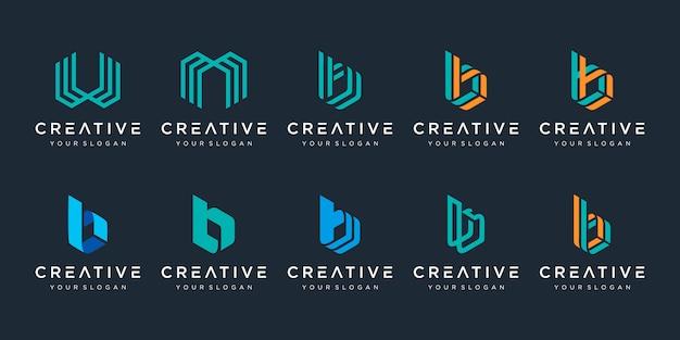 Zestaw kreatywnych monogramów szablon logo litery b, w i m. logo może służyć do budowania firmy.