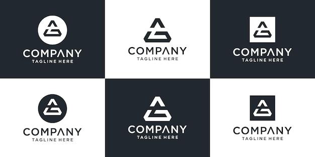Zestaw kreatywnych monogramów z literą ag inspiracją do projektowania logo z trójkątem cooncept
