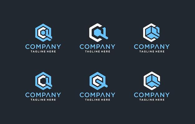 Zestaw kreatywnych monogramów z literą cq lub inspiracją do projektowania logo qc