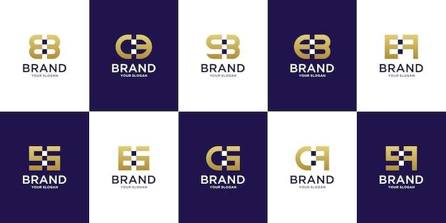 Zestaw kreatywnych monogramów z logo od a do z dla nowoczesnej technologii cyfrowej