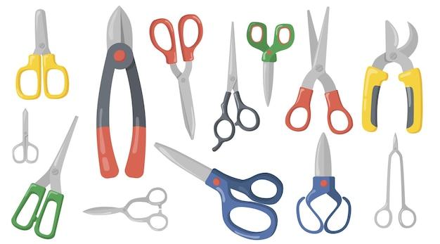Zestaw kreatywnych nożyczek, nożyc i sekatorów płaskich.