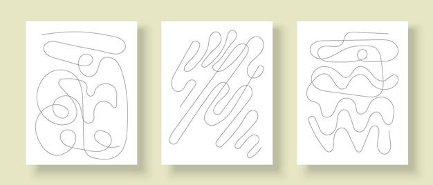 Zestaw kreatywnych plakatów do dekoracji ścian abstrakcyjny projekt linii artystycznej na okładki