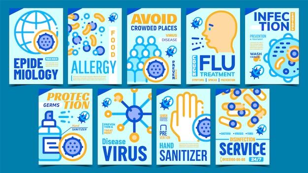 Zestaw kreatywnych plakatów epidemiologicznych