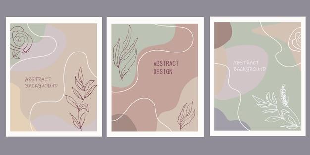 Zestaw kreatywnych plakatów o geometrycznych kształtach i botanicznych elementach kwiatowych