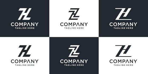 Zestaw kreatywnych początkowych list zh logo szablon projektu