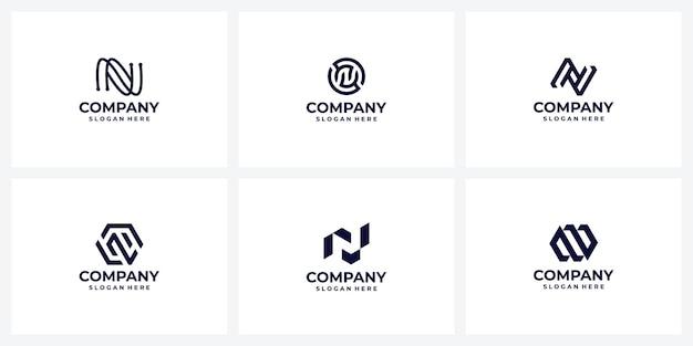 Zestaw kreatywnych pomysłów na projektowanie logo firmy litera n monogram