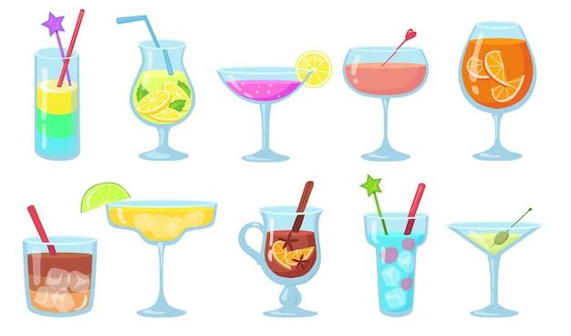Zestaw kreatywnych popularnych koktajli alkoholowych płaskich ilustracji