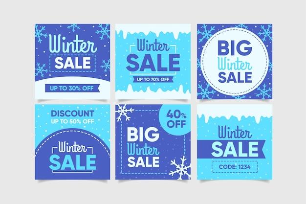 Zestaw kreatywnych postów sprzedaży zimowej