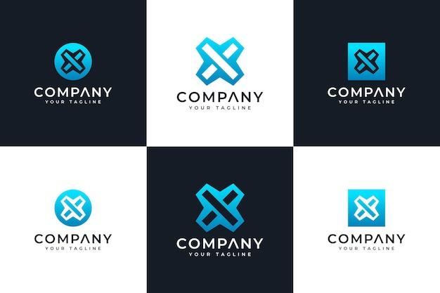 Zestaw kreatywnych projektów litery x logo do wszystkich zastosowań