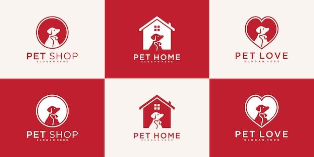 Zestaw kreatywnych projektów logo dla psów domowych z nowoczesną i fajną koncepcją premium vekto