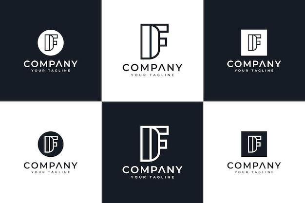 Zestaw kreatywnych projektów logo letter df do wszystkich zastosowań
