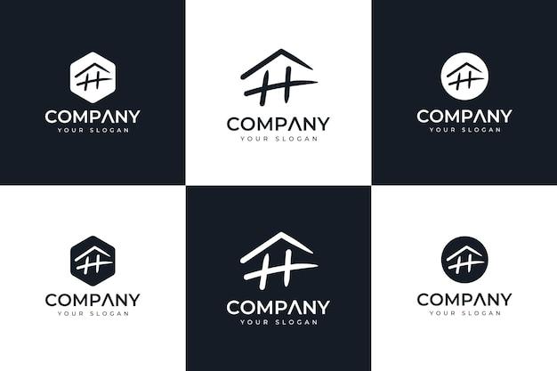 Zestaw kreatywnych projektów logo litery h do wszystkich zastosowań