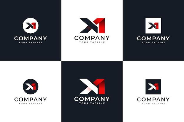 Zestaw kreatywnych projektów logo litery x1 do wszystkich zastosowań