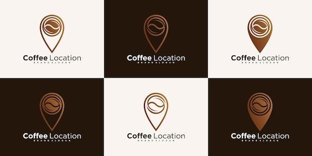 Zestaw kreatywnych projektów logo lokalizacji kawy z nowoczesną koncepcją premium wektor