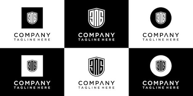 Zestaw kreatywnych projektów logo monogram