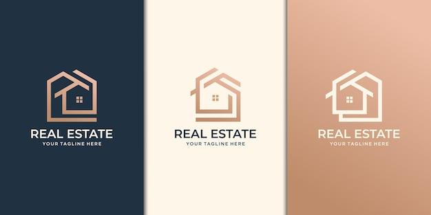 Zestaw kreatywnych projektów logo nieruchomości
