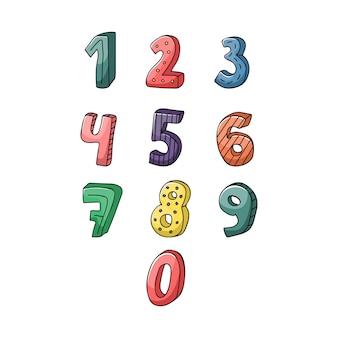 Zestaw kreatywnych ręcznie rysowanych liczb w dziecinnym stylu.