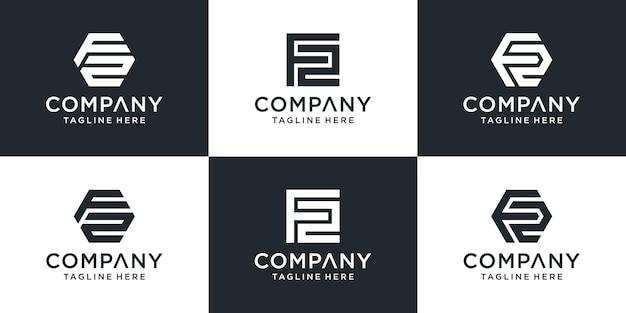 Zestaw kreatywnych streszczenie listu f2 kolekcja projektowania logo.