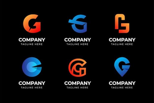 Zestaw kreatywnych streszczenie litera g kolekcja szablonów projektu logo