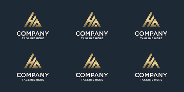 Zestaw kreatywnych streszczenie monogram list ha logo szablon