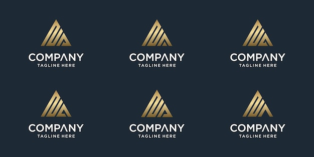 Zestaw kreatywnych streszczenie monogram list na szablon logo. logotypy dla biznesu luksusowego, eleganckiego, prostego