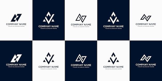 Zestaw kreatywnych streszczenie monogram litery av logo szablon projektu