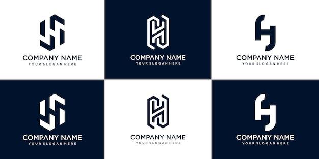 Zestaw kreatywnych streszczenie monogram litery h logo szablon projektu