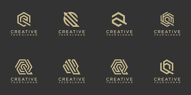 Zestaw kreatywnych streszczenie monogram litery q projektowanie logo