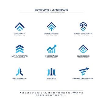 Zestaw kreatywnych symboli strzałki wzrostu, koncepcja czcionki. zysk finansowy, bank, logo firmy streszczenie giełdy. zwiększ, dorastaj ikona wykresu