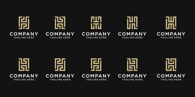 Zestaw kreatywnych szablon logo początkowa litera h.