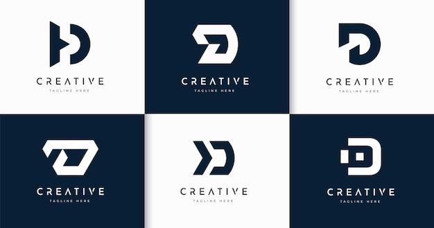 Zestaw kreatywnych szablon projektu logo stylu monogram litery d