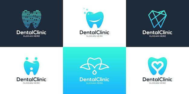 Zestaw kreatywnych szablonów logo dentystycznych