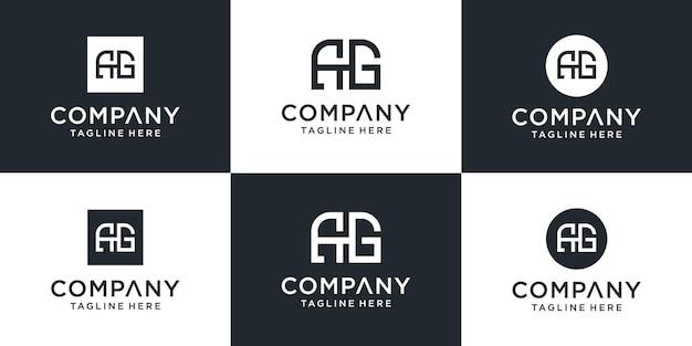 Zestaw kreatywnych szablonów logo monogram ag. logo może być używane dla biznesu i firmy budowlanej.