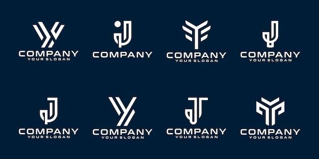 Zestaw kreatywnych szablonów logo monogram