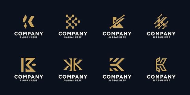 Zestaw kreatywnych szablonów projektu logo litery k