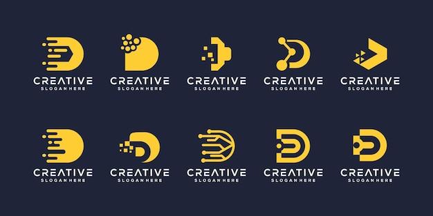 Zestaw kreatywnych szablonu logo litera d.