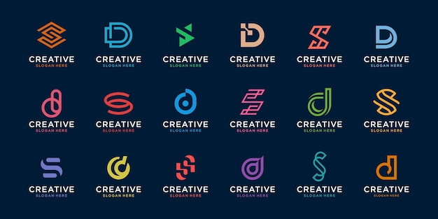 Zestaw kreatywnych szablonu logo litery d i s. ikony dla biznesu cyfrowego, technologii, finansów, luksusu