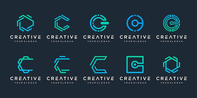 Zestaw kreatywnych szablonu projektu logo litera c. logotypy dla biznesu technologii, cyfrowe, proste.