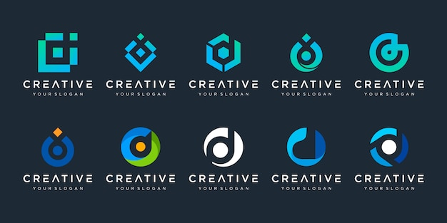 Zestaw kreatywnych szablonu projektu logo litera d. logotypy dla biznesu technologii, cyfrowe, proste.