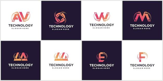 Zestaw Kreatywnych Szablonu Projektu Logo Tech Logo Ikona Logo Technologii Premium Wektorów