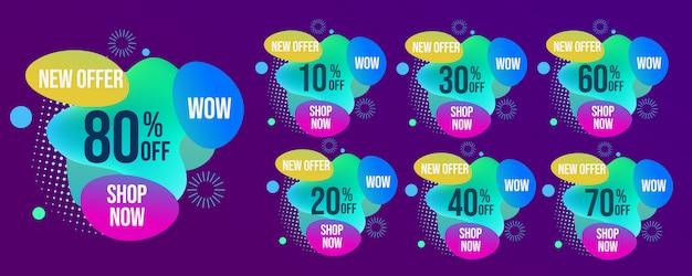 Zestaw kreatywnych tagów sprzedaży mega
