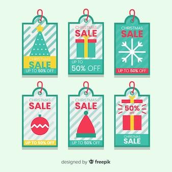 Zestaw kreatywnych tagów świątecznej sprzedaży