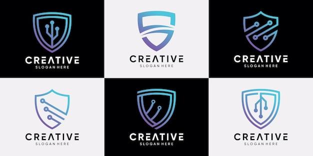 Zestaw kreatywnych technologii projektowania logo tarczy z grafiką liniową i unikalną koncepcją. ikona logo firmy i osobiste. wektor premium