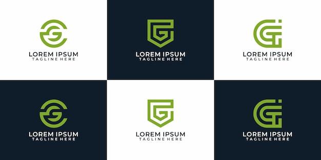 Zestaw kreatywnych wzorów logo litery g szablonów inspiracji