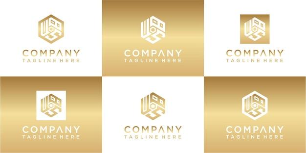 Zestaw kreatywnych wzorów logo z monogramem z monogramem sześciokątnym