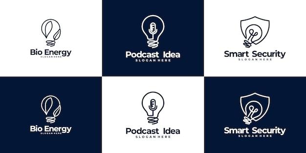 Zestaw kreatywnych żarówek inspiracji logo design