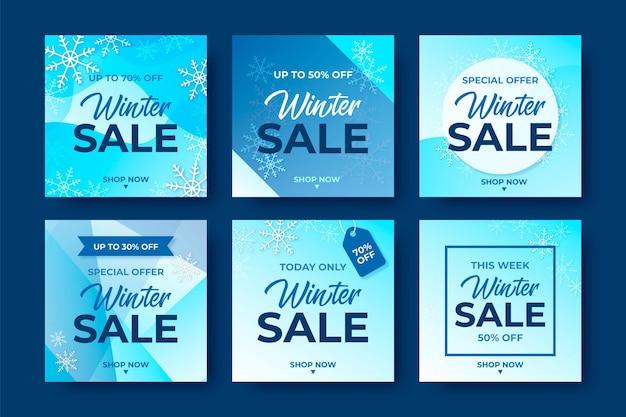 Zestaw kreatywnych zimowych stanowisk sprzedaży