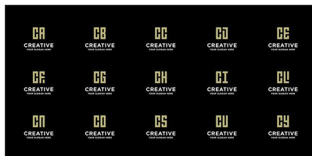 Zestaw kreatywnych złotych logo z inicjałem c